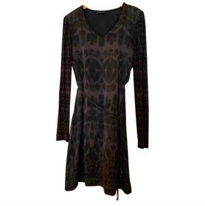 Marc Cain Silk Leopard Print Midlength Dress Small